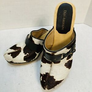 Enzo Angiolini Women's Cow Hide Clog Wedge Heel Shoes Size 8M Slides