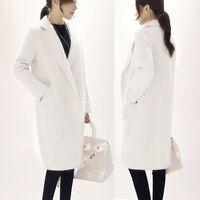 Fashion Women Winter Warm Wool Lapel Long Slim Trench Parka Coat Jacket Overcoat
