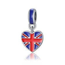 UK Heart Flag Red Blue Enamel Dangle Bead For 925 Silver Charms Bracelet