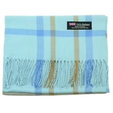 Men Women 100% CASHMERE Scarf tartan Plaid Stripe Soft Wool SCOTLAND Blue