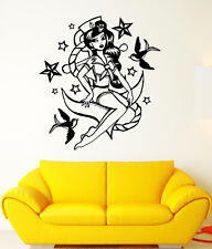 Vinyl Wall Decal Pin Up Nautical Style Retro Sexy Girl Sailor Stickers (1885ig)
