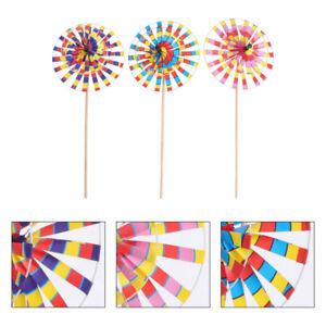3pcs Outdoor Decors Round Windmills Outdoor Pinwheel Toys for Garden Children