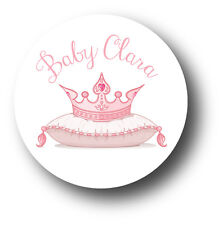 30 Princess Tiara Baby Shower Personalized Stickers