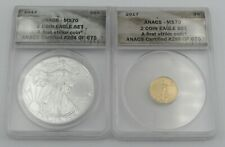 ANACS First Strike 2017 MS 70 American $5 Gold & $1 Silver Eagle 2 Coin Set