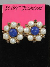 Betsey Johnson Goldtone Faux Pearl Blue Cabachon Cluster Button Stud Earrings