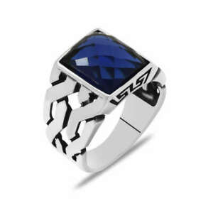 Mens Silver Ring with Blue Cubic Zircon Gemstone 925 Sterling Handmade Jewelry