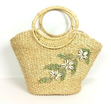 Straw Bag Purse Tote Seashell Embellishment Open Top Round Handles Beach Resort