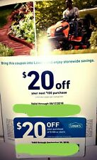 2 Lowes $20 Off $100 Coupons Exp Sept 2018
