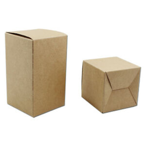Kraft Paper Brown Folded Box For Jewelry Sugar Gift Biscuit Toy Party Hand Soap