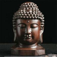 Hand Carved Redwood Crafts Sakyamuni Head Buddha Statue Tathagata Sculpture TR