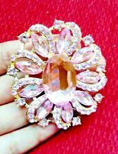 Pink Cystal Large Flower BROOCH Pin Broach Badge Diamante Rhinestone Lady Gift