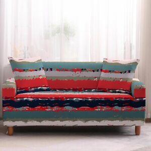 Pinstripe Furniture Covers Sofa 4 Seater Stretch Cushion Spandex Slipcover Hot