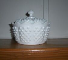 Vintage Fenton Milk Glass Hobnail Covered  Candy Dish