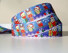 "Christmas Owls 7/8"" grosgrain ribbon 4 yards home decor holiday crafts"