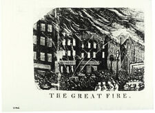 c. 1839 Printing Woodblock - Philadelphia Fire, Appeared in Spirit of the Times