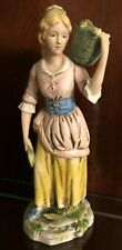"""Vintage Homco Ceramic Figurine 1414 """"Maiden Carrying A Basket Filled With Corn"""""""