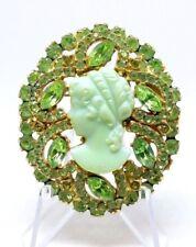 Vintage Green Juliana D&E Rhinestone Luster Iridescent Cameo Brooch Rare Color