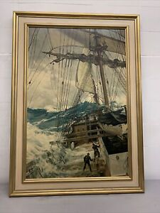 Vintage Mid Century Framed The Rising Wind by Montague Dawson PRINT - Huge