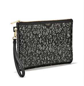 Victoria's Secret Clear/Black Wristlet Lacy Little Bag PVC Limited Edition