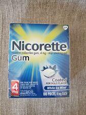 Nicorette Gum~White Ice Mint~4mg 100 Pcs Nicotine Gum Stop Smoking Exp 2021