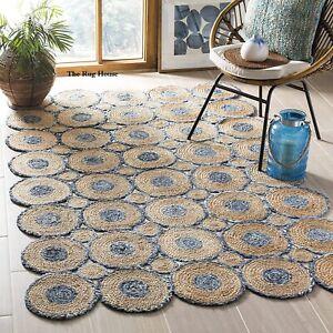 Rug 100% Natural braided jute Denim carpet Modern Living rustic look Area rugs