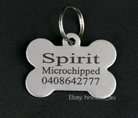 Stainless Steel Bone Pet Tag Free Engraving Personalised Custom ID Dog Cat Tags