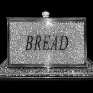Silver Crushed Diamond Crystal Mirrored Bread Bin Container, Kitchen Bling Gift