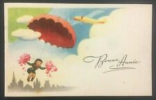 Vintage French New Year Postcard Bonne Annee Girl Jumping Plane Parachute