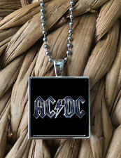 Vintage ACDC Back In Black Album Pendant Keychain Silver Chain Necklace NEW