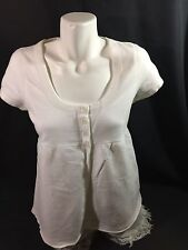 Abercrombie&fitch Women White Top Button up Blouseshort Sleeves Scoop Neck Sz L