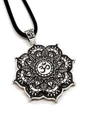Lotus Flower OM Aum Mandala Pendant Tantric Buddha Tibetan Healing Cord Necklace