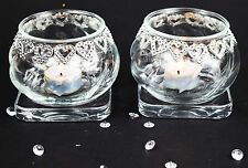 2 Pieces Crytal Clear Glass Heart Tea Light Candle Holders & Tray Wedding Decor