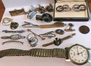 Vintage Lot of Men's Cufflinks, Tie Clips Jewelry Watch rings Swank