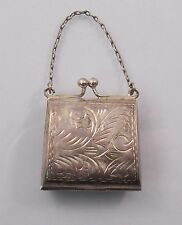 Vintage Sterling Silver Hand Chased Small Purse Locket Charm Pendant (#4821)