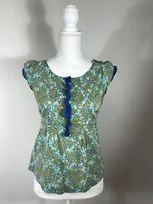 Edme & Esyllte Floral Print Top Sz O Blue Green Gold Side Zip Cap Sleeves