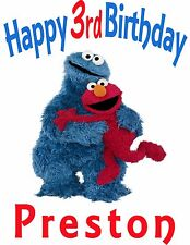 Personalized Elmo and Cookies Monster BIRTHDAY PARTY T SHIRT GIFT with NAME