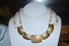 VINTAGE MULTI PINK STONE STRAND CHOKER NECKLACE WITH GOLD TONE CENTER PIECES