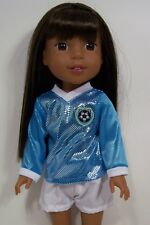 """2pc BLUE Soccer Uniform Doll Clothes For 14"""" American Girl Wellie Wishers (Debs)"""