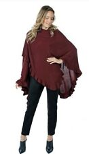 New! Women's Guillaume Luxe Knit Wrap Cape with Ruffle Detail Wine