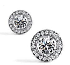 Women's Sanwood Crystal Zircon Inlaid Ear Stud Platinum Plated Earrings Gift New