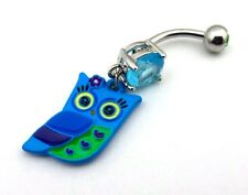 Owl Belly Ring Blue Green CZ Gemstone Jewel Navel Bar Body Jewelry