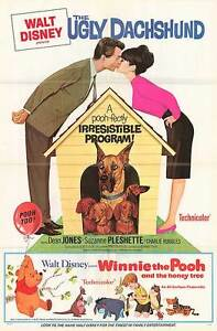 THE UGLY DACHSHUND/WINNIE THE POOH AND THE HONEY TREE original 1966 movie poster
