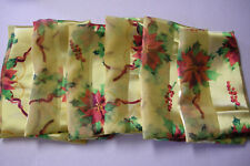 """Christmas Scarfs, Yellow With Poinsettia Design, 60"""" x 12"""", 6 Pieces, Brand New"""