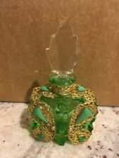 Morlee Czech Jeweled Butterfly Perfume Bottle Green Rare