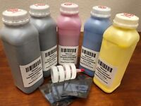 5 x Glossy Toner Refill for HP Color LaserJet CP4025, CP4520, CP4525 + 5 Chip