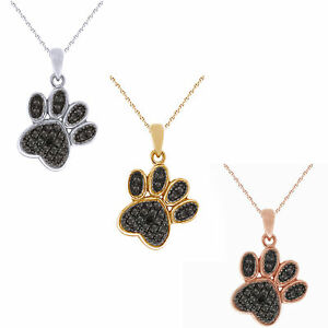 """Black Diamond Accent Paw Print Pendent with 18"""" Chain in Sterling Silver"""