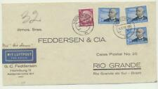 GERMANY -BRAZIL 1939, AIR FRANCE COVER HAMBURG-RIO GRANDE 3x15m(Sc#C56)+15pf