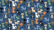 """Crafty CATS on Blue 100% Cotton fabric Makower Size 22"""" x 18"""" larger available"""