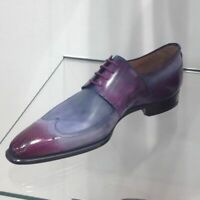 Handmade Leather Two Tone patina purple Oxfords for Men Custom shoes for men