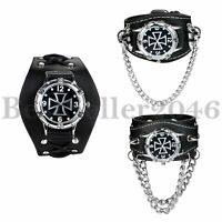 Mens Gothic Cross Black Wide Genuine Leather Band Cuff Sport Analog Wrist Watch